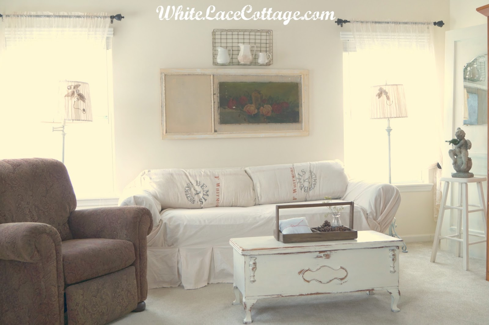 Off White Slipcover Sofa Sets For Living Room Online And A Mantle Change - Lace Cottage