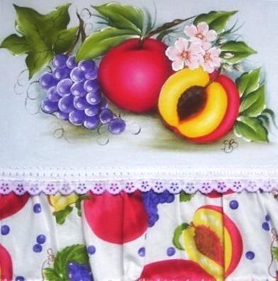 pintura em tecido pano de prato barrado tecido frutas