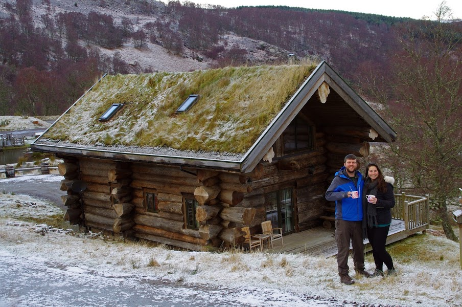 Couple holidaying at Eagle Brae Log Cabins Scotland
