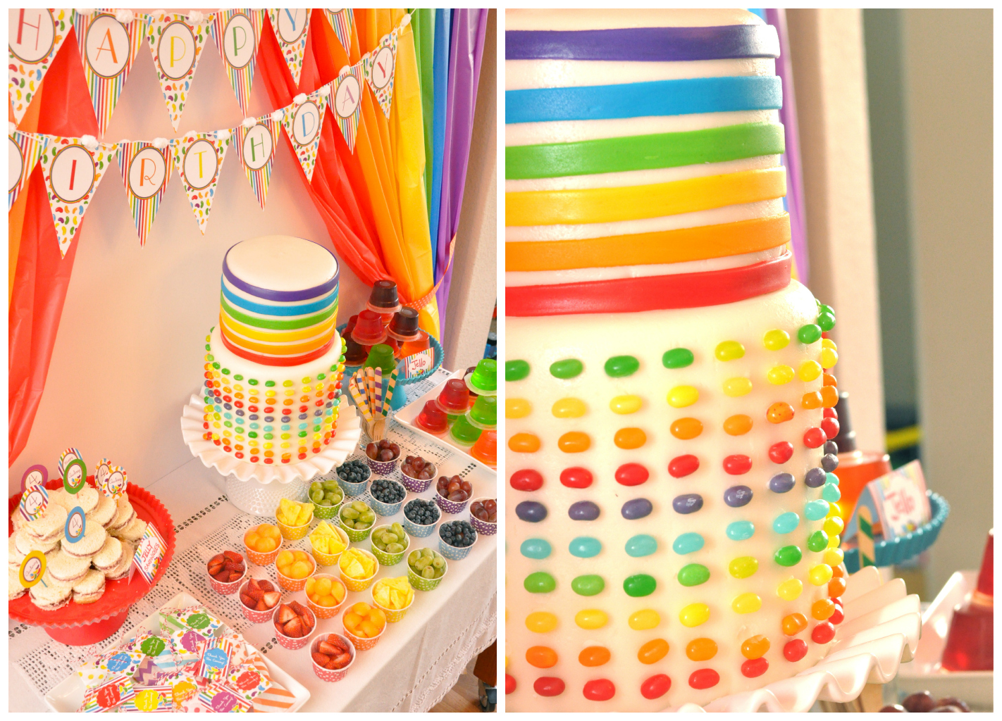 Jelly Bean Birthday Party Ideas and Candy Bar Desserts table