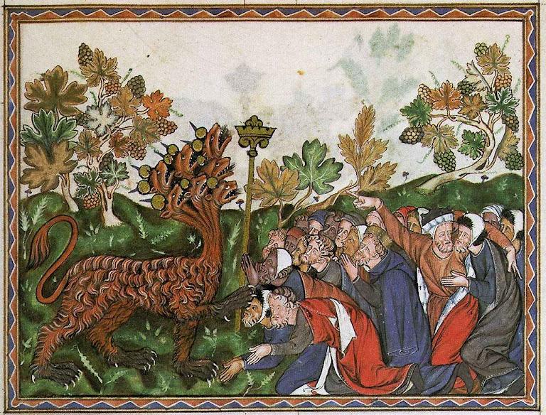 Seduzida por grandes obras e falsos milagres toda a terra adorará a besta. Oxford, Ms. Douce 180.