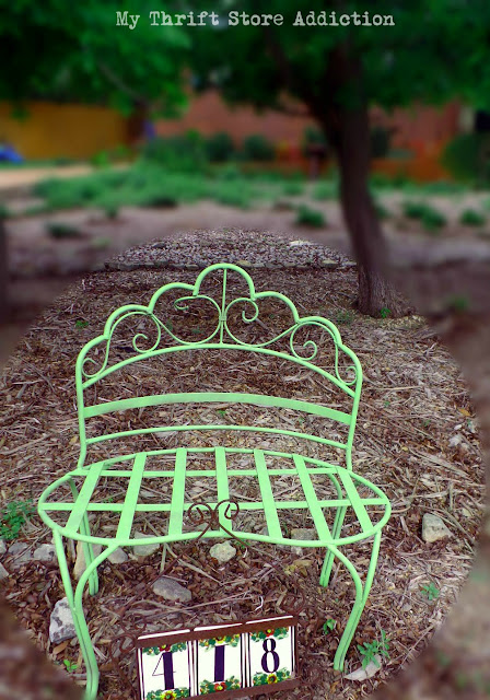 Chalk painted garden bench
