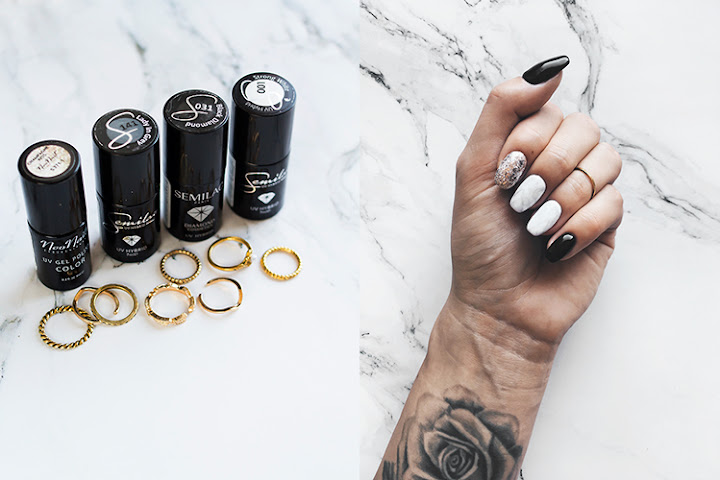 MARBLE MANI 🖤 SEMILAC 001 STRONG WHITE, 031 BLACK DIAMOND, NEONAIL CHAMPAGNE KISS