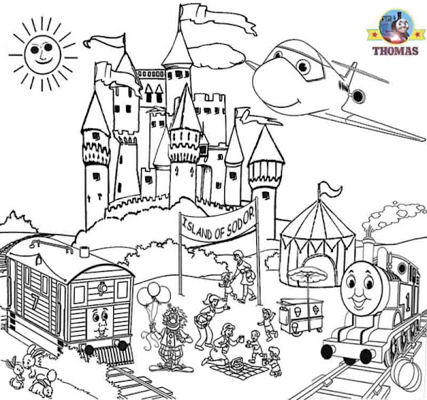 Happy summer holidays coloring pages printable for Thomas the train christmas coloring pages