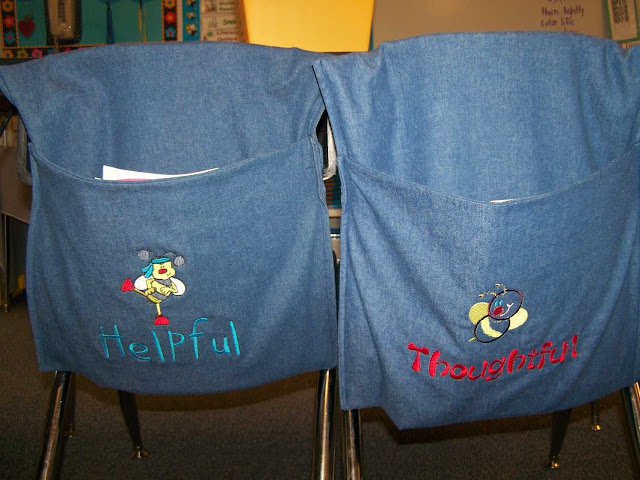 Classroom management tool, purchase chair pockets or make them, whichever table earns the most table points for the week gets the chair pockets the following week.  The kids love it!