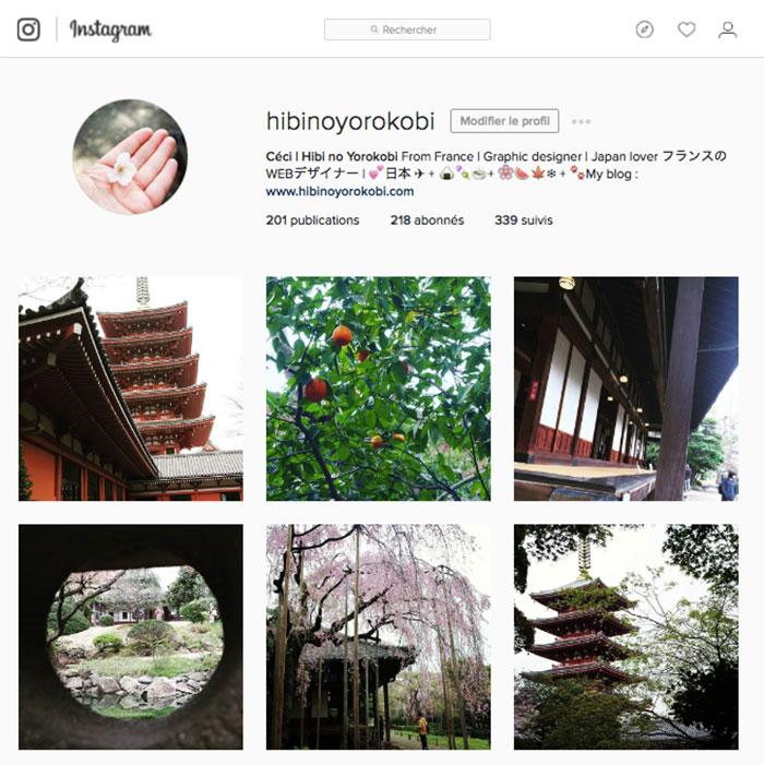 capture ecran compte instagram hibinoyorokobi