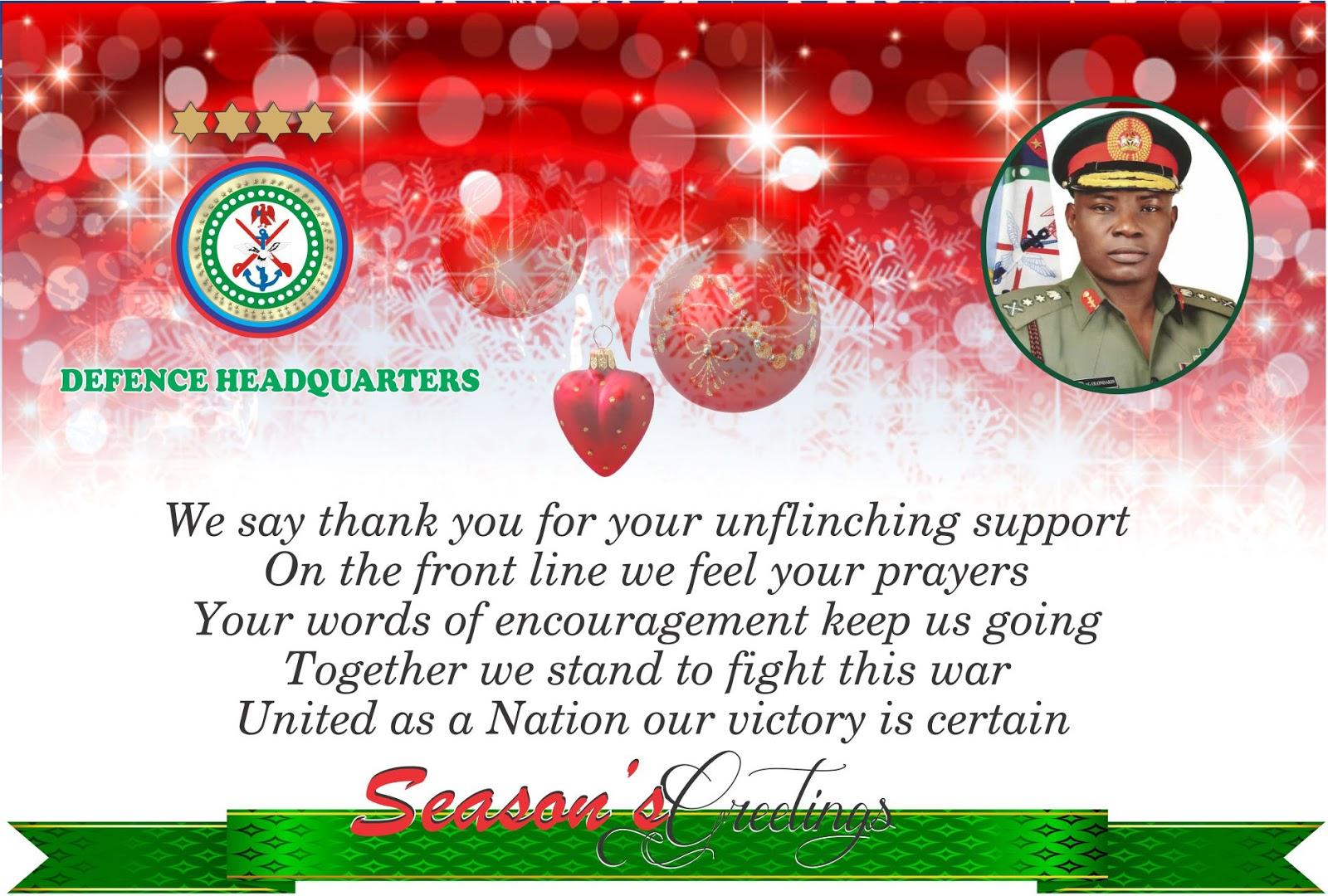 Welcome to ireportinglive nigeria military seasons greetings to all soldiers kristyandbryce Images