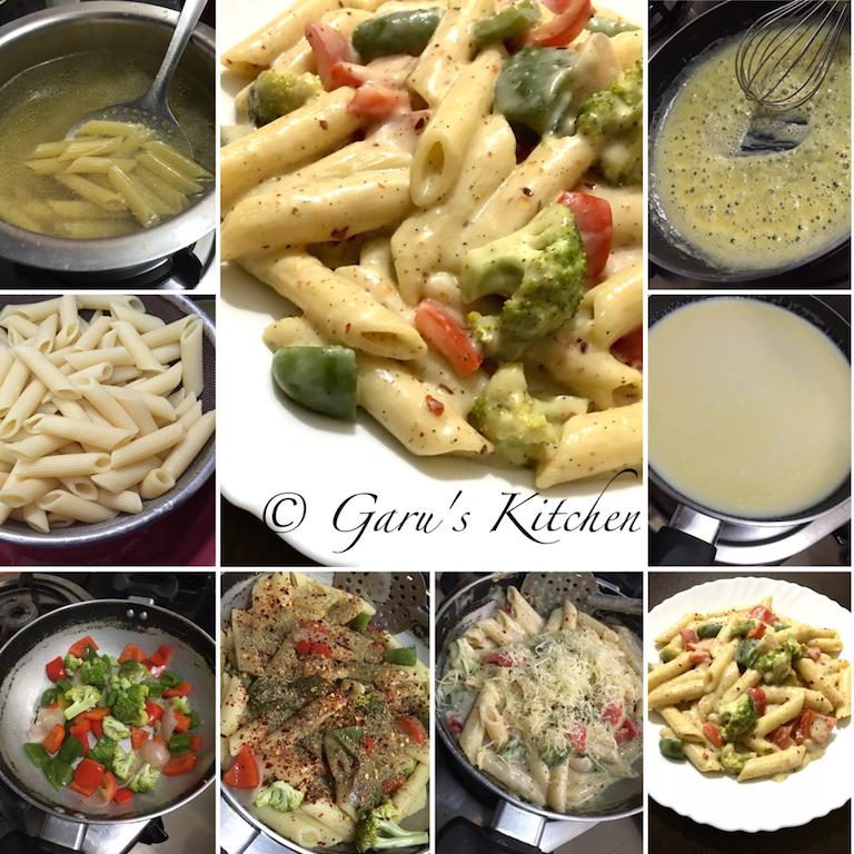 italian style white sauce pasta recipe   vegetable pasta ...