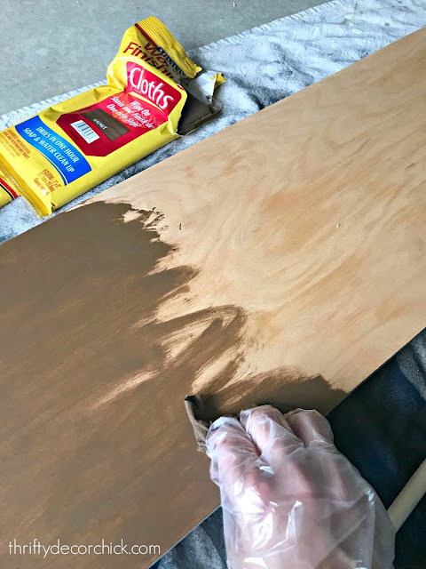 Staining wood with wipes