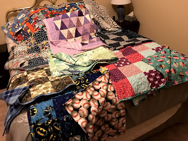 Completed quilts.
