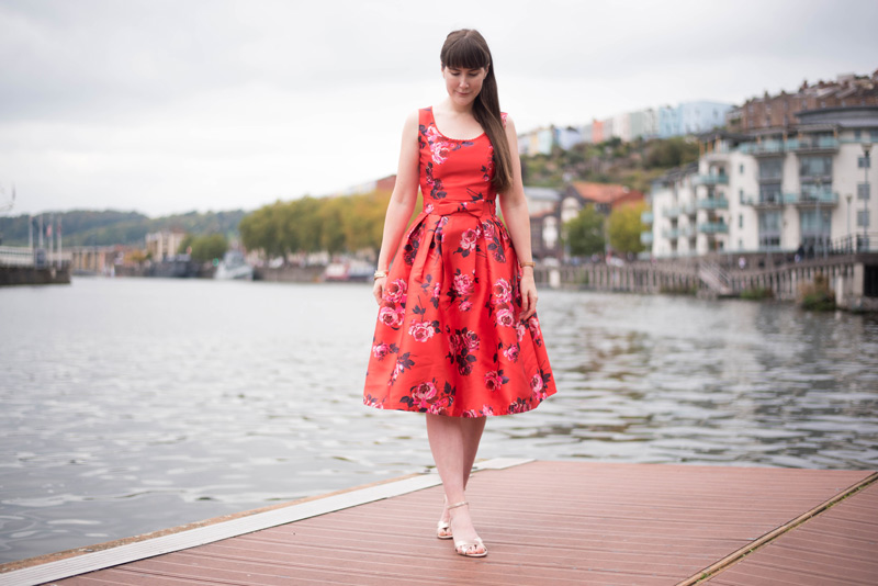 Joanie Ria Red Floral Prom Dress