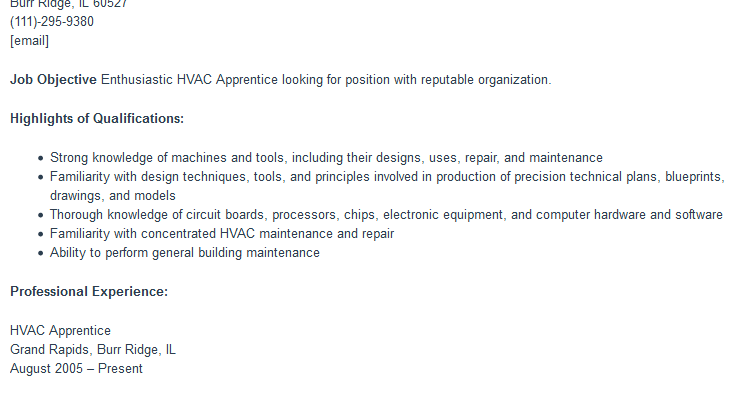 hvac apprentice resume sample free word format best free templates