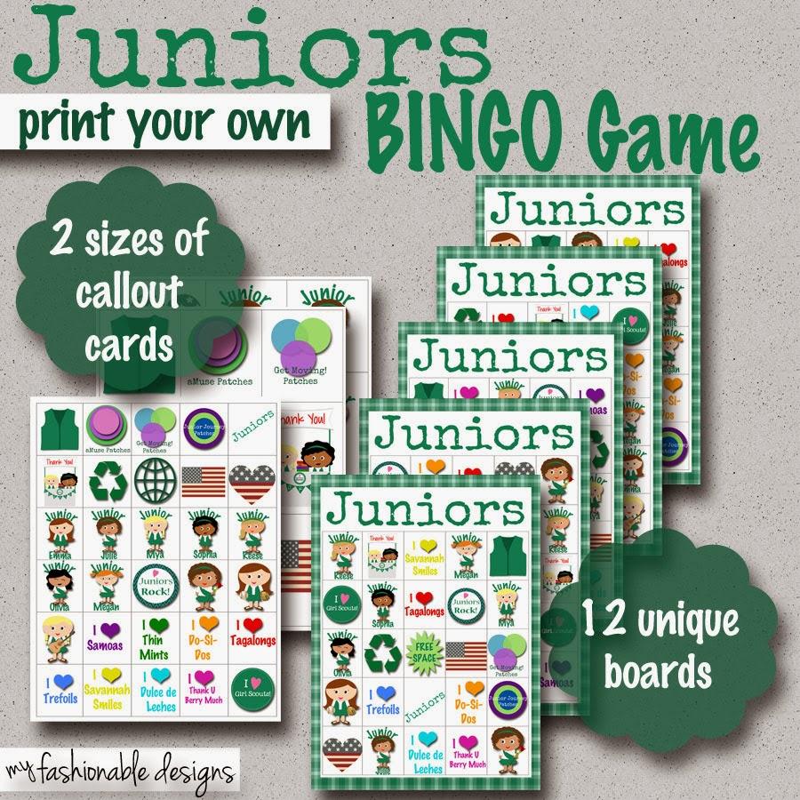My Fashionable Designs Girl Scouts Juniors Bingo Game