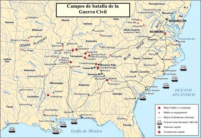 Guerra Civil Americana: campos de batalla