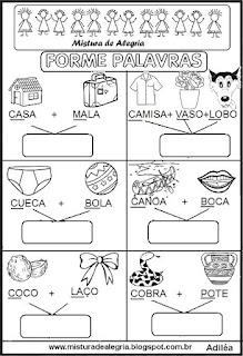 Formando palavras com sílabas iniciais de desenhos