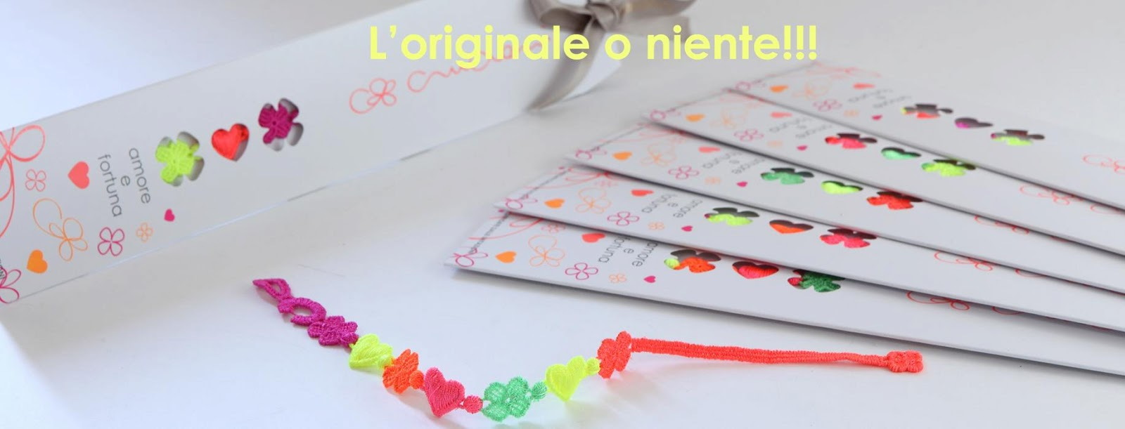 packaging braccialetti cruciani amore e fortuna multicolor fluo