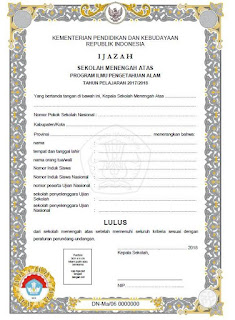 Blangko Ijazah SMA 2018 Kurikulum 2006, Jurusan IPA