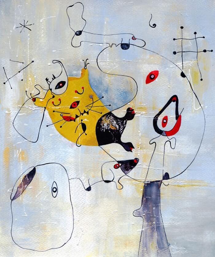 07-Inspired-By-Joan-Miro-Veselka-Velinova-Paintings-of-12-Cats-in-Different-Art-Styles-www-designstack-co