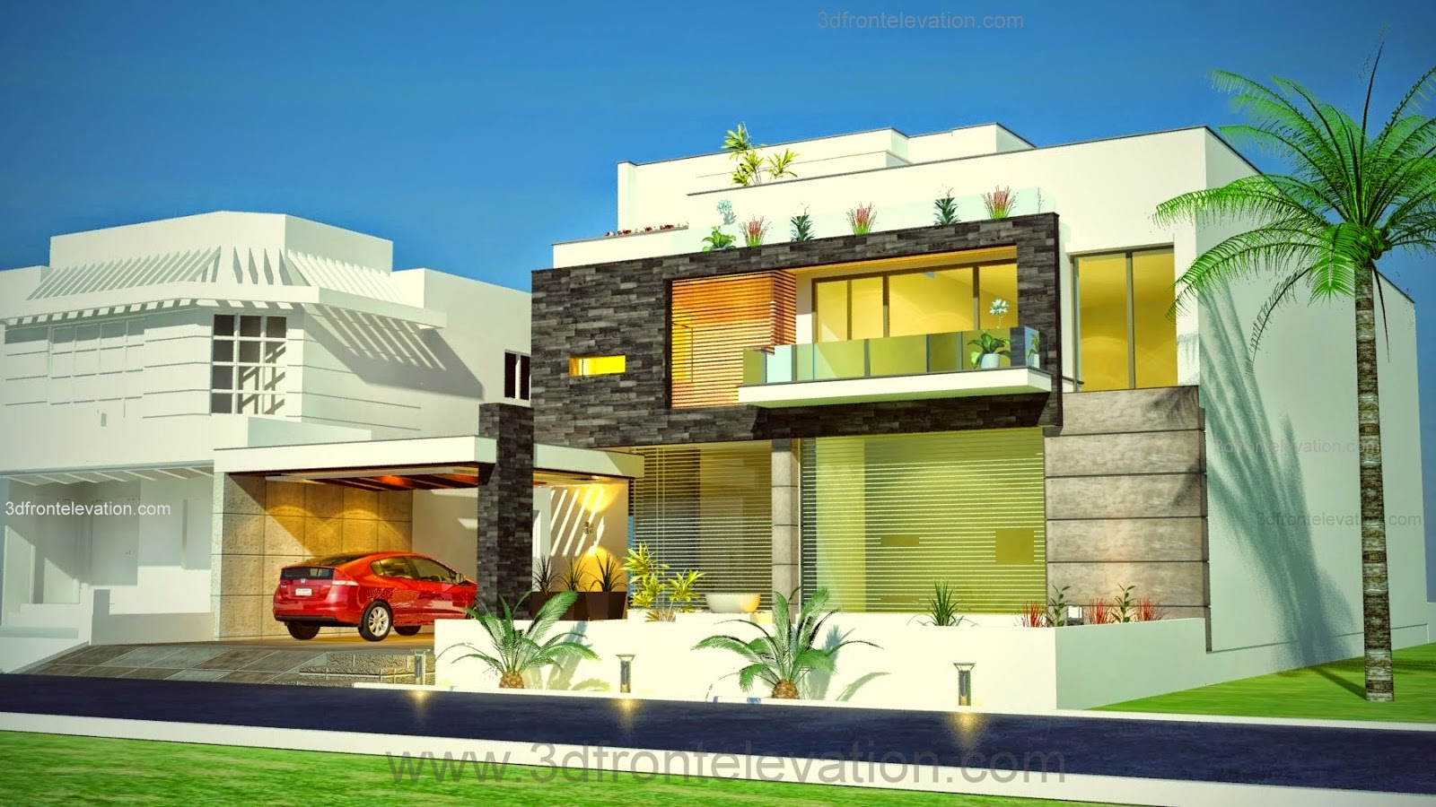 3D Front Elevation.com: 1 Kanal Plot , New Beautiful