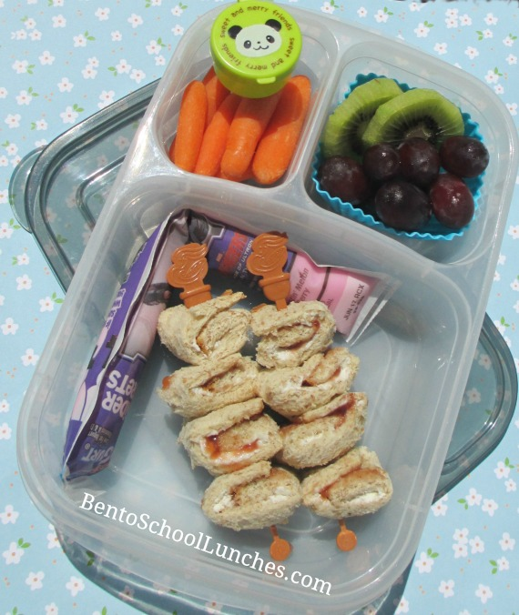 Cream cheese and jam roll-ups, kebabs, food on a stick, bento school lunches