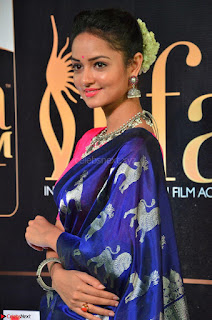 Shanvi Looks Super Cute in Pink Backless Choli Blue Saree at IIFA Utsavam Awards 2017 16.JPG