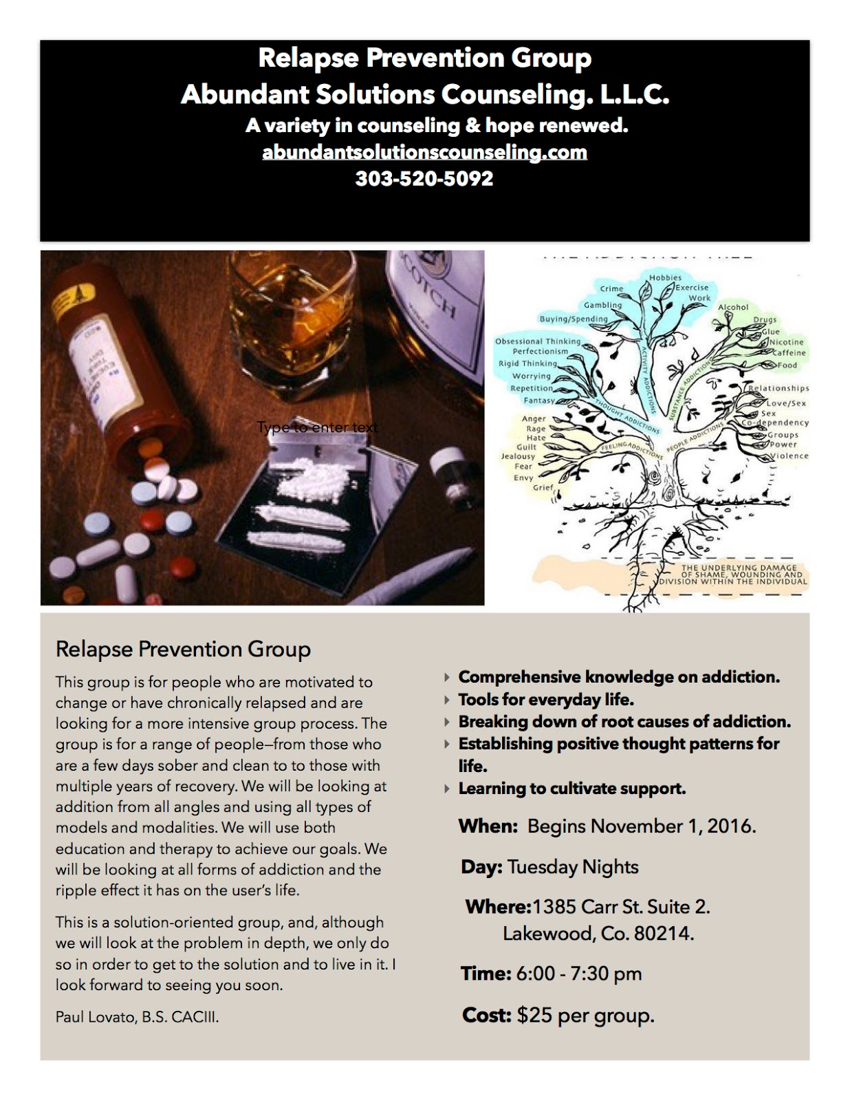 Abundant Solutions Counseling Relapse Prevention Group