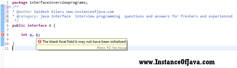 java interface non static variables