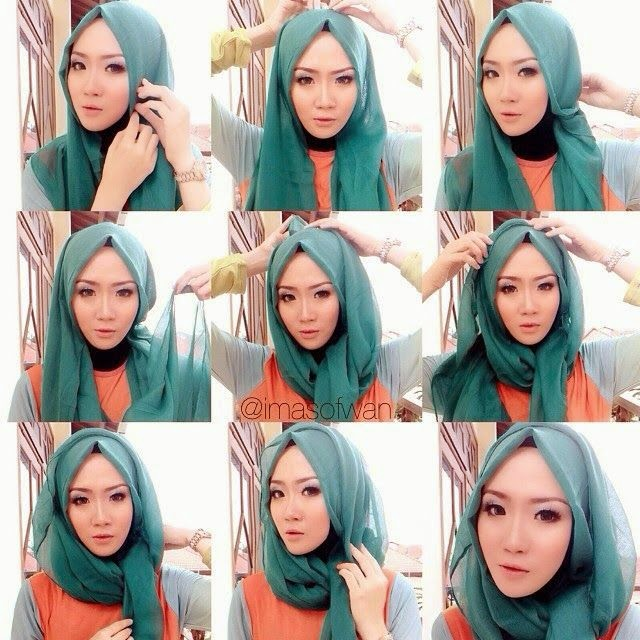 tutorial hijab segi empat simple dan modis