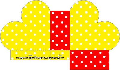 Caja abierta en forma de corazón de Rojo, Amarillo y Lunares Blancos.