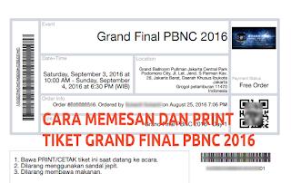 Cara Mudah Memesan Tiket Grand Final PBNC 2016