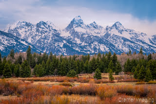 Fine art landscape photograph of Teton mountain range of Grand Teton National Park Wyoming and Snake River flood plane by Cramer Imaging