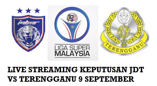 Keputusan JDT Vs Terengganu 9 September 2016
