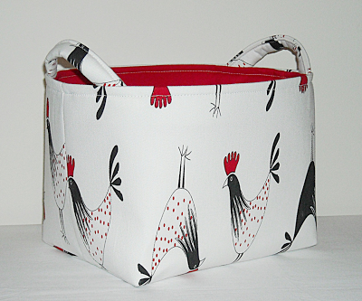 fabric storage basket with roosters