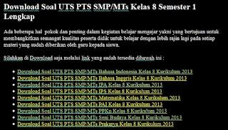 Soal UTS PTS SMP/MTs Kelas 8 Semester 1 Lengkap