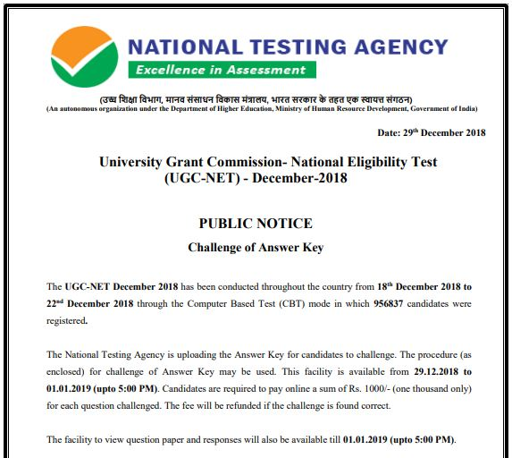 UGC NET Answer Key 2018 December Exam Paper Solution