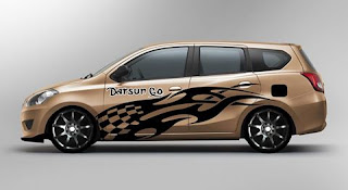 Desain cutting sticker datsun go+ bronze