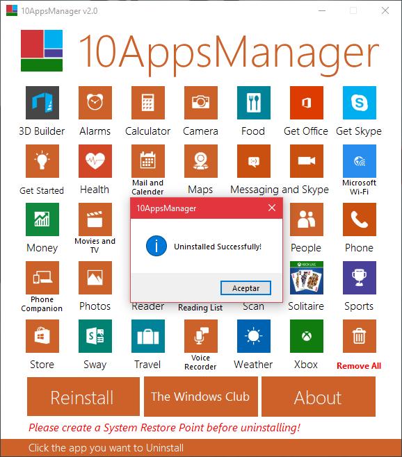 10AppsManager v2.0 | Herramienta para desinstalar o reinstalar aplicaciones de la Tienda preinstaladas en Windows 10