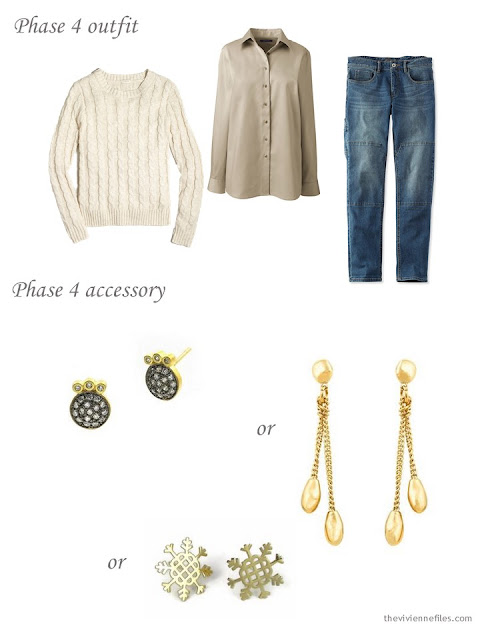 Adding fun earrings to a capsule wardrobe