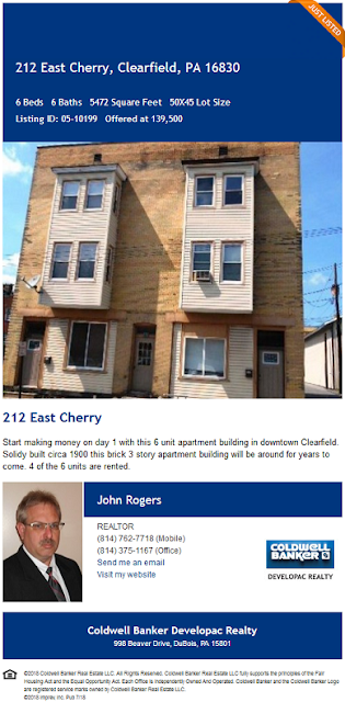 John Rogers Coldwell Banker Developac Realty 212 e cherry street clearfield pa wilds elk for sale