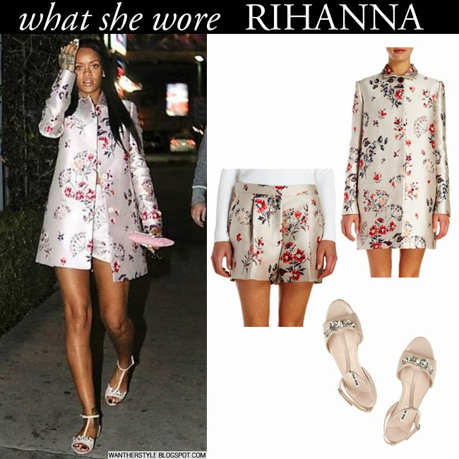 98f8446f3eb Rihanna in floral print Stella McCartney coat and shorts with pink t-strap sandals  Miu
