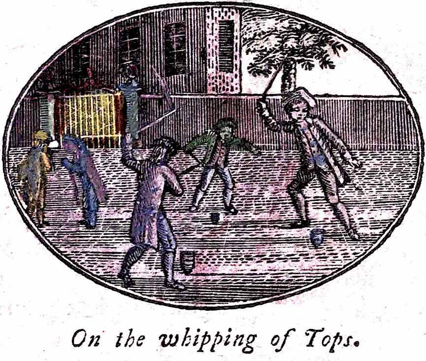 boys whipping their tops in 1800, an illustration