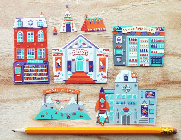 miniature paper cut village