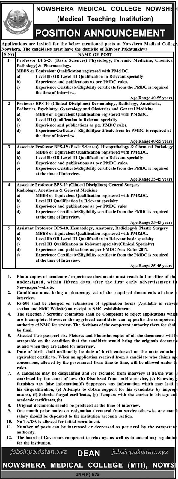 Advertisement for Nowshera Medical College Jobs