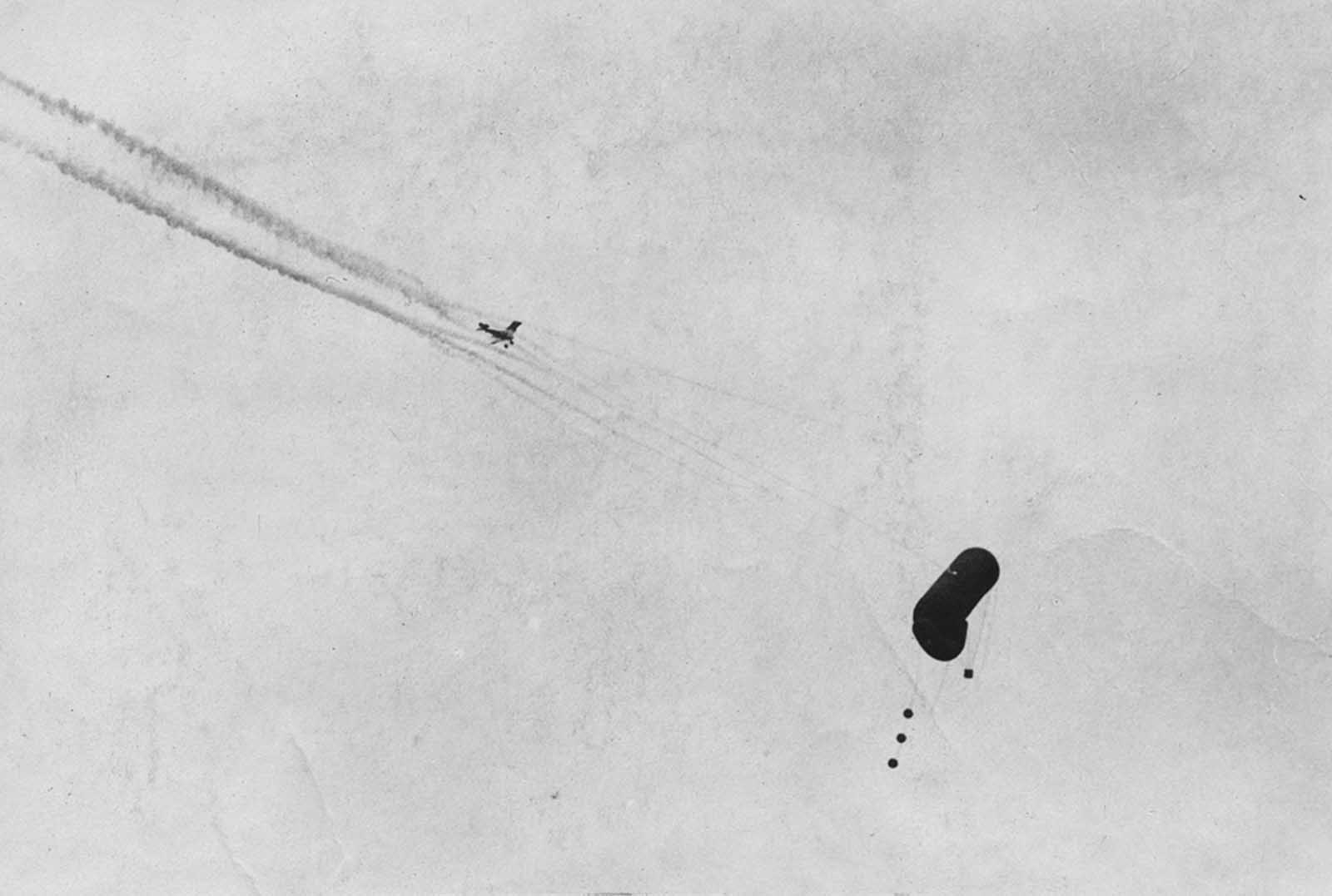 A German balloon being shot down.