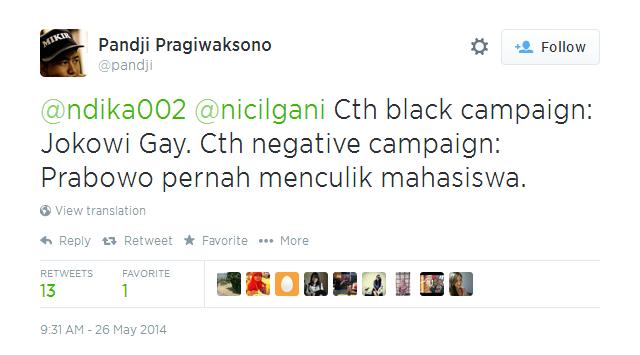 tweet pandji tentang black campign dan negative campaign