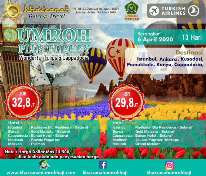 jadwal paket umroh april plus turki 2020