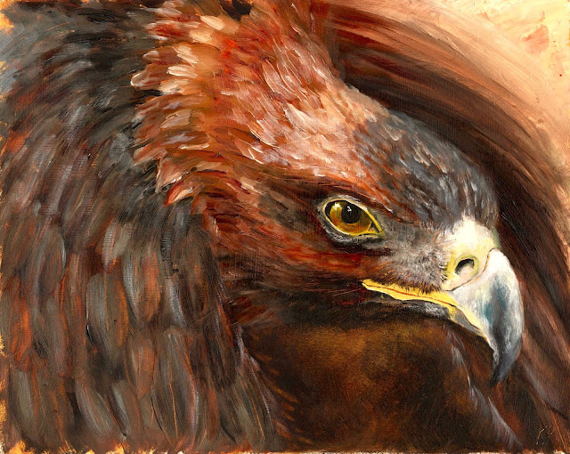 oil painting of golden eagle in flight