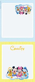 Para hacer invitaciones, tarjetas, marcos de fotos o etiquetas, para imprimir gratis de  Bebés Disney en Celeste y Amarillo.