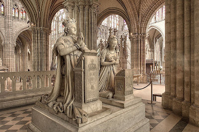 Photograph of funerary monuments of King Louis XVI and Queen Marie Antoinette, Saint Denis Basilica, France