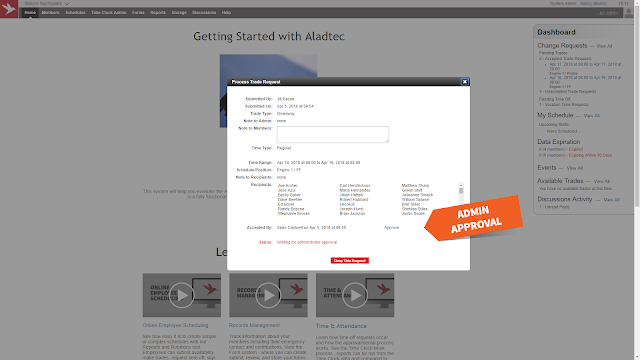 Admin trade approval screen